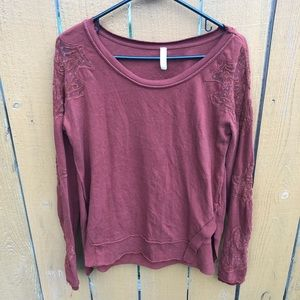 Free People Burnt Orange Mesh Detail Top